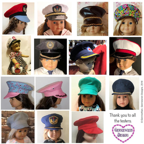 Genniewren Designs Military style cap pdf doll clothes sewing pattern designed to fit 18 inch American Girl dolls
