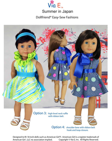 "Summer In Japan Dress 18-19"" Doll Clothes Pattern"