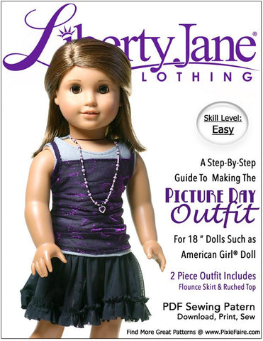 "Picture Day Outfit 18"" Doll Clothes Pattern"