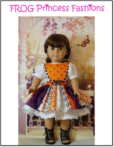 pdf doll clothes sewing pattern Frog Princess Fashions Precious Pinafores designed to fit 18 inch American Girl dolls