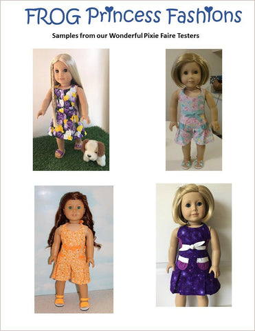 Doll Clothes PDF Sewing Pattern summer romper and dress designed to fit American Girl dolls
