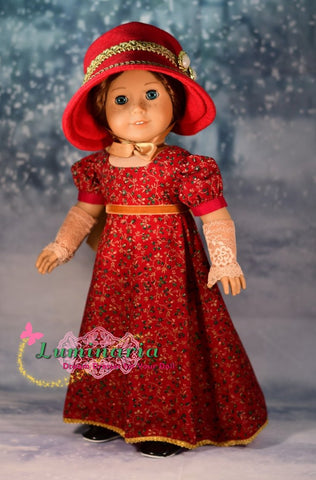 pdf doll clothes sewing pattern luminaria Sense & Sensibility outfit designed to fit 18 inch American Girl dolls