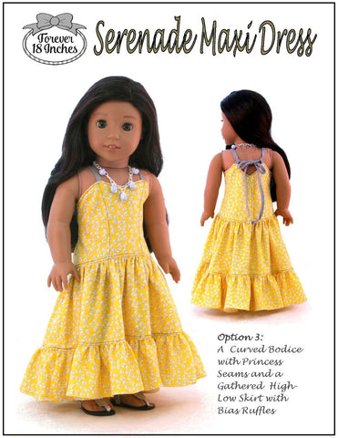 "18"" Doll Clothes PDF Sewing Pattern high low maxi dress designed to fit American Girl"