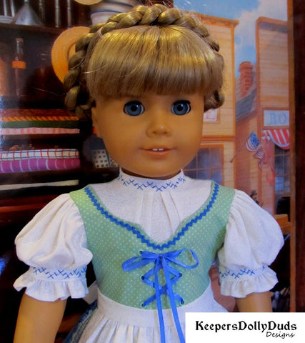 Keepers Dolly Duds Spring Dirndl German outfit pdf doll clothes sewing pattern designed to fit 18 inch American Girl dolls
