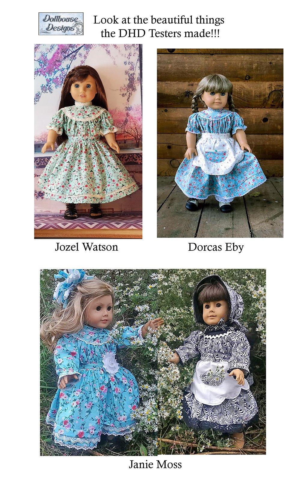 Dollhouse Designs 1850s Spring Gathering Doll Clothes Pattern 18