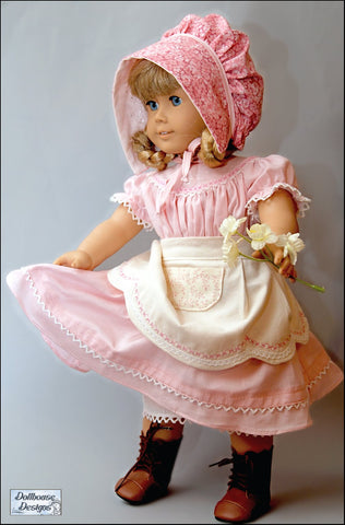 pdf doll clothes pattern Dollhouse Designs 1850s Spring Gathering designed to fit 18 inch American Girl dolls