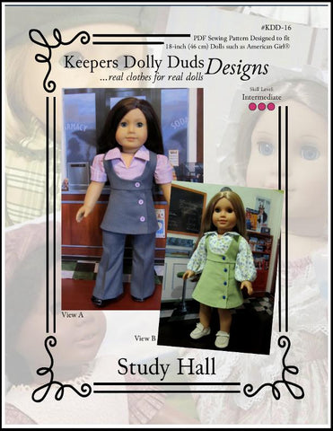Keepers Dolly Duds Study Hall 1970s PDF doll clothes sewing pattern designed to fit 18 inch American Girl dolls