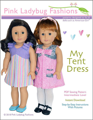"Pink Ladybug 18 Inch Modern My Tent Dress 18"" Doll Clothes Pattern Pixie Faire"