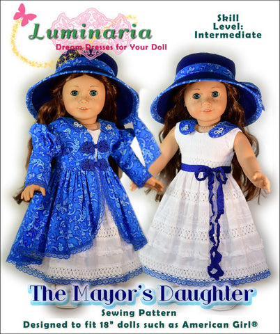 PDF doll clothes sewing pattern Luminaria The Mayor's Daughter designed to fit 18 inch American Girl dolls