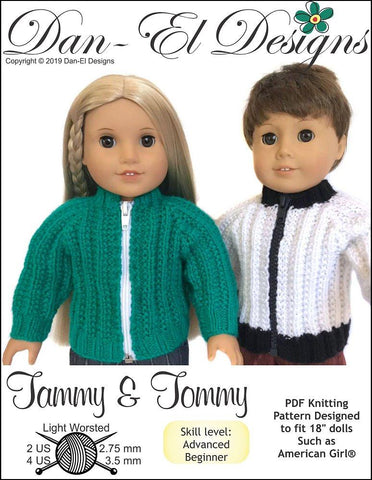 Dan El Designs Tommy & Tammy pdf knitting pattern designed to fit 18 inch boy and girl American Girl dolls