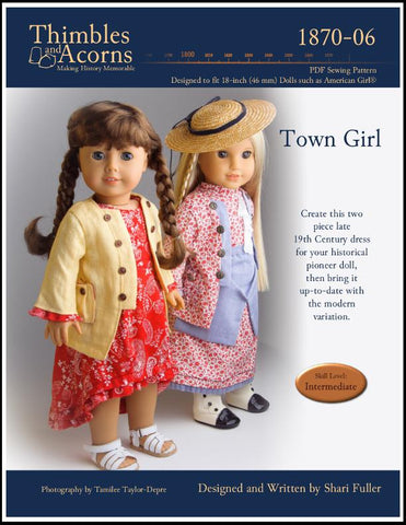 pdf sewing pattern Thimbles and Acorns Town Girl designed to fit 18 inch American Girl dolls