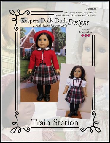 Keepers Dolly Duds Train Stations PDF doll clothes sewing pattern designed to fit 18 inch American Girl dolls