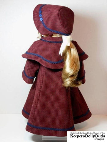 Keepers Dolly Duds Victorian Carolers Coat pdf doll clothes sewing pattern designed to fit 18 inch American Girl dolls