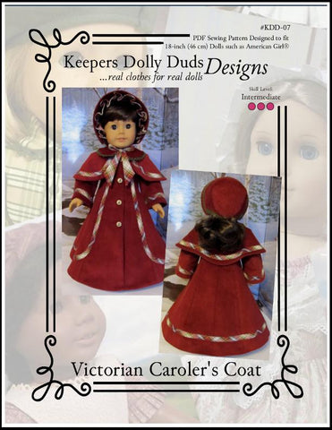 "Keepers Dolly Duds Designs 18 Inch Historical Victorian Caroler's Coat and Bonnet 18"" Doll Clothes Pattern Pixie Faire"