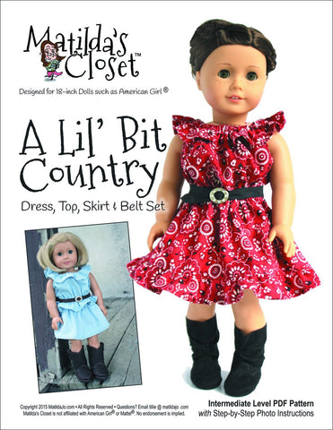 "A Lil' Bit Country: Dress, Top, Skirt and Belt Set 18"" Doll Clothes"