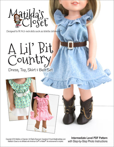 "Matilda's Closet WellieWishers A 'Lil Bit Country: Dress, Top, Skirt & Belt Set 14.5"" Doll Clothes Pattern Pixie Faire"