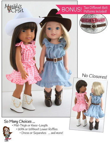 "A 'Lil Bit Country: Dress, Top, Skirt & Belt Set 14.5"" Doll Clothes Pattern"