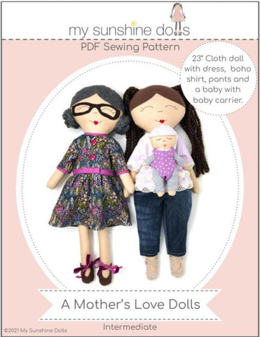 "My Sunshine Dolls Cloth doll A Mother's Love Dolls 23"" Cloth Doll Pattern Pixie Faire"