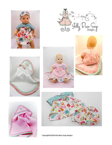 pdf doll clothes sewing pattern Jelly Bean Soup Designs A Dress For Baby Kendall designed to fit 15 inch Bitty Baby Dolls.