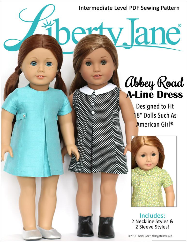 Liberty Jane Abbey Road A-Line Dress Doll Clothes Pattern 18 inch ...