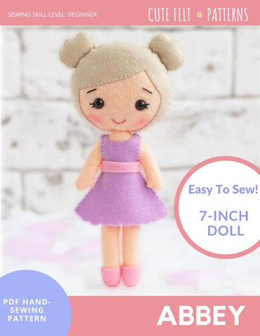 "Abbey 7"" Felt Doll Hand Sewing Pattern"