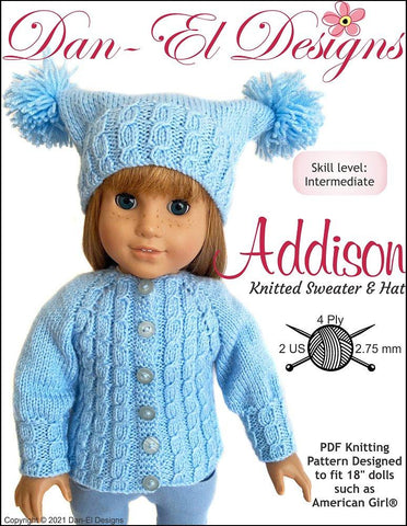 "Addison Knitted Sweater and Hat 18"" Doll Knitting Pattern"