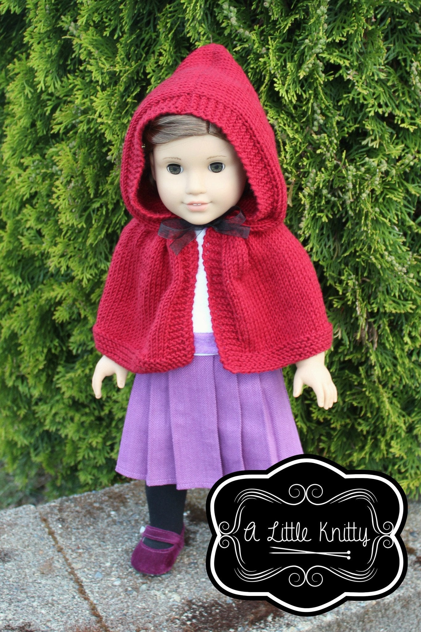 A Little Knitty Addy Hooded Cape Doll Clothes Pattern 18 inch ...