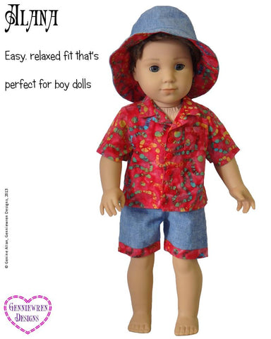 "Alana - Hawaiian-Style Shirt, Shorts and Hat 18"" Doll Clothes Pattern"