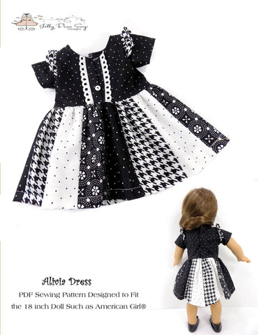 "Jelly Bean Soup Designs 18 Inch Modern Alivia Dress 18"" Doll Clothes Pattern Pixie Faire"