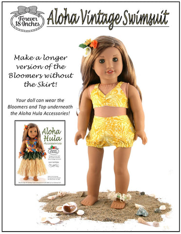 "Aloha Vintage Swimsuit and Hula Accessories Bundle 18"" Doll Clothes Pattern"