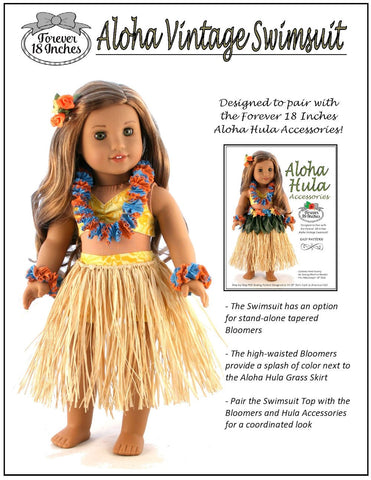 "Aloha Vintage Swimsuit 18"" Doll Clothes Pattern"