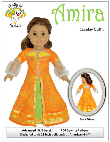 "Crafty Lil Turkey 18 Inch Modern Amira Cosplay Outfit 18"" Doll Clothes Pattern Pixie Faire"