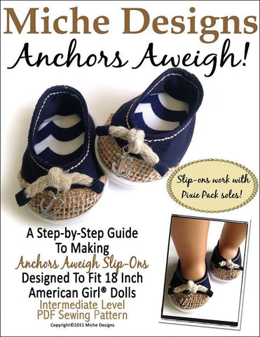 "Miche Designs Shoes Anchors Aweigh 18"" Doll Shoes Pixie Faire"