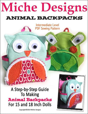 "Miche Designs 18 Inch Modern Animal Backpacks 18"" Doll Accessories Pixie Faire"