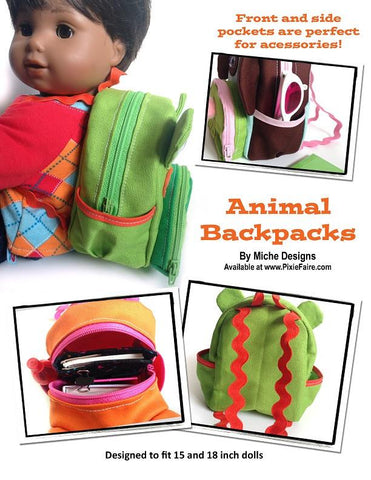 "Animal Backpacks 18"" Doll Accessories"