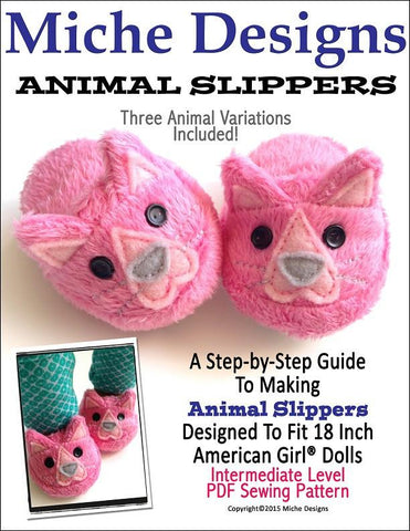 "Miche Designs Shoes Animal Slippers 18"" Doll Shoes Pixie Faire"