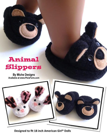 "Animal Slippers 18"" Doll Shoes"