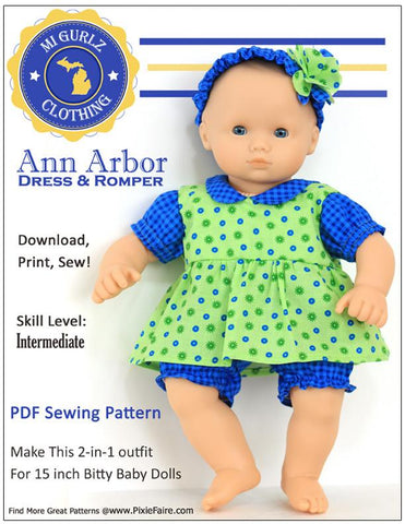"Ann Arbor Dress & Romper 15"" Doll Clothes"