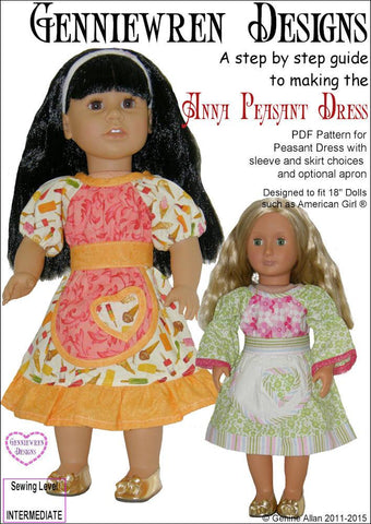 "Anna Peasant Dress 18"" Doll Clothes Pattern"