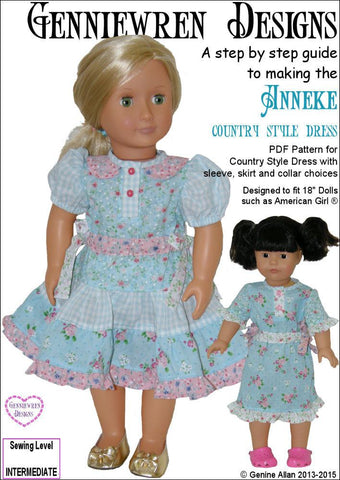 "Anneke Country Style Dress 18"" Doll Clothes"