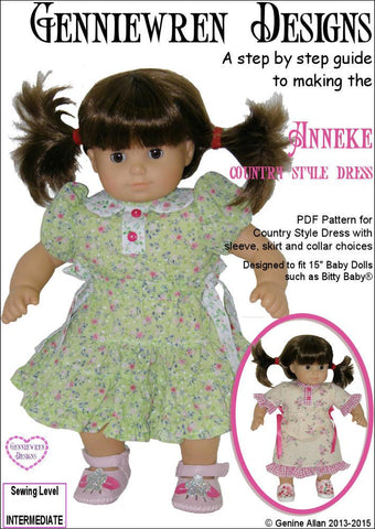 "Anneke Country Style Dress 15"" Doll Clothes Pattern"