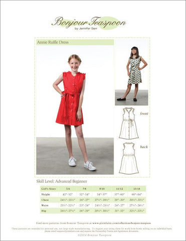 Bonjour Teaspoon Girls Annie Ruffle Dress Pattern for Girls Pixie Faire