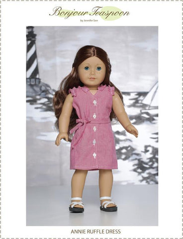 "Annie Ruffle Dress 18"" Doll Clothes Pattern"