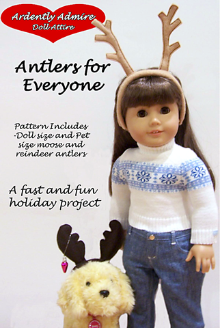 "Ardently Admire 18 Inch Modern Antlers For Everyone 18"" Doll Accessory Pattern Pixie Faire"