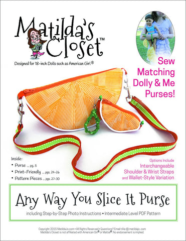 "Matilda's Closet 18 Inch Modern Any Way You Slice It Purse 18"" Doll Accessories Pixie Faire"