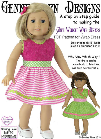"Genniewren 18 Inch Modern Any Which Way Dress 18"" Doll Clothes Pattern Pixie Faire"