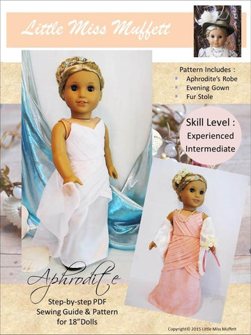 "Little Miss Muffett 18 Inch Modern Aphrodite 18"" Doll Clothes Pattern Pixie Faire"