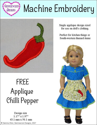 FREE Applique Chilli Pepper Machine Embroidery Design