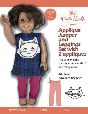 "Applique Jumper and Leggings 18"" Doll Clothes Pattern"