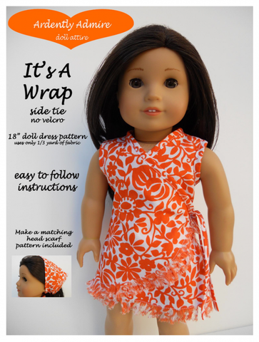 "It's A Wrap Dress 18"" Doll Clothes Pattern"
